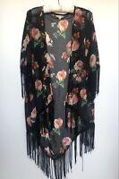 RED BERRY Short Sleeve Poncho Kimono Coat Tassel Fringe Floral Black Size 8-10