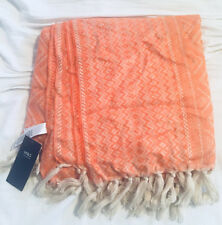 M&S Ladies Marmalade Orange Woven Border Jacquard Print Scarf 120cm x 120cm BNWT