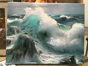 SEASCAPE OCEAN WAVES PAINTING ON GICLEE CANVAS 16X20 inches, USA Made