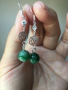 Certified Grade A Jadeite Jade Hand Carved Beads Earrings In Sterling Silver