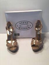 Women's Shoes High Heel Blush Sandals w/ Gold Back Zipper by Steve Madden Size 7