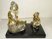 F.Mendoza Brass Nude Woman+Child Sculpture,#126/500 Statue-Figurine Art Deco