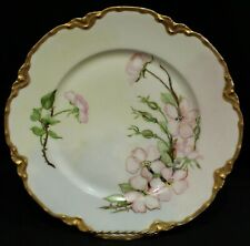 Vintage Haviland Limoges HP Artist Signed Gilt Border Floral Display Plate