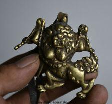 6 CM Chinese Kupfer Redpoll Geflügelte Garuda Vogel Adler Buddha Statue Anhänger