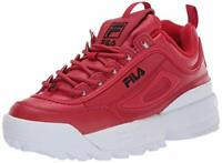 Fila Women's Shoes Disruptor II Leather Low Top, Fila Red/Black/White, Size  J3y