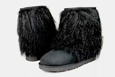 UGG CLASSIC SHORT CUFF MONGOLIAN SHEEPSKIN BLACK BOOT WITH THE FUR! SIZE 11 US