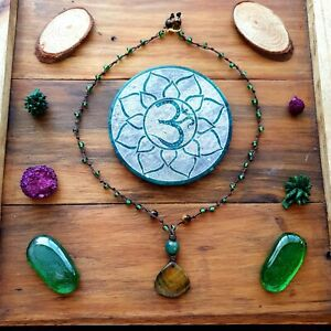 The 'Tiger Lily' Necklace Beads Yoga Tigers Eye Crystal Pendant Eco-Hemp Cord