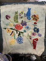 "Vintage 1960's Crewel Birds & Flowers  18"" X 16"" Burlap Embroidery, Needlework -"