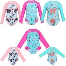 Kids Girls Long Sleeves Swimsuit Swimwear Bathing Suit One-piece UV Rash Guard