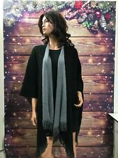 WOMENS COLDWATER CREEK BLACK/GRAY BLANKET PONCHOS-CAPES-WRAPS~ONE SIZE