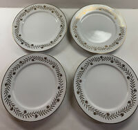 4 Martha Stewart Golden Wreath White Gold Dinner Plates 10-3/4""