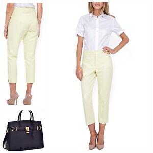 CLOSET LONDON Cotton Diamond Pleat Front 3/4 Trousers Pants Yellow **NEW