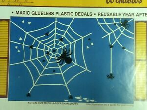Icky Halloween Window Clings Vinyl Decals Vintage Stik-EES Spider Webs, Flies