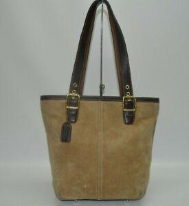 Coach Hampton Suede Tan Leather Trim Zip Bucket Tote Bag 9579