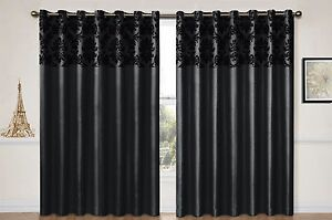 Eyelet curtains Ring Top Fully Lined Pair Ready made Flock Damask Panel Black