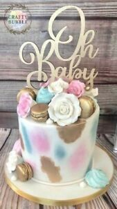 'Oh baby' baby shower wooden Cake topper any colour (not card) hand made