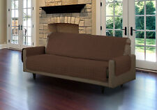 QUILTED MICROFIBER PET DOG COUCH SOFA FURNITURE PROTECTOR WITH STRAP, BROWN