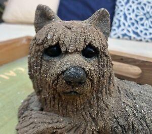 Lou Rankin 1979 Cement Sculpture Yorkie Dog Glass Eyes