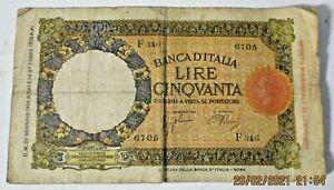 50 LIRE AZZOLINI URBINI 29/01/1938 originale BB