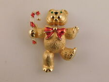 CHRISTMAS BEAR TREMBLER PIN BROOCH CANDY CANE GOLDTONE ENAMEL BOBBLE HEAD