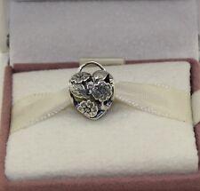 AUTHENTIC PANDORA  Floral Heart Padlock Openwork Charm.791397    #641