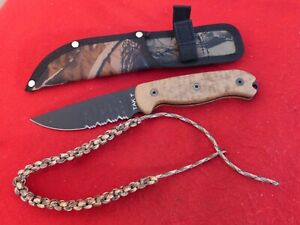 Ontario USA  TAK 1 serrated full tang fixed blade knife & sheath + extra
