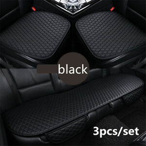 3pcs Black Breathable PU Leather Car Front & Rear Seat Covers Cushion protection