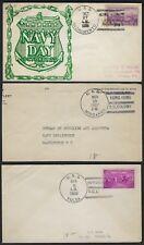 HONG KONG US 1937 THREE US NAVY COVERS AT HONG KONG PORTS USS MINDANAO USS SACRA