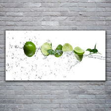Image sur verre acrylique Tableau Impression 120x60 Cuisine Citron Vert Lime Eau