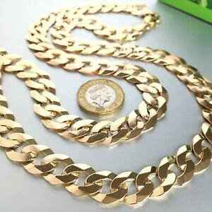 """HEAVY 9ct GOLD SOLID CURB MEN'S CHAIN 28 1/2"""" - 96g (3.08 toz)"""