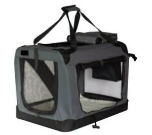 Pet Dog Cat Fabric Soft Portable Crate Kennel Cage Carrier XL 81x 58 x58cm- Grey