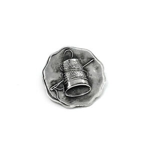 UNUSUAL Antique 20s Sterling THIMBLE & NEEDLE Lapel Pin Brooch, Long's Boston