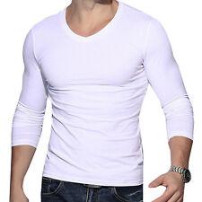 Casual Men V Neck Long Sleeve Muscle Basic Tees Shirt Top Blouse T-Shirt Sweet