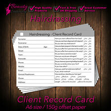 Hairdresser Client Card / Client Record Card / Consultation Card x300, A6 size