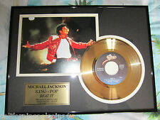 "Michael Jackson ""Beat It""  24-KT Gold-plated 45  Record -  ""ONLY 2,500 MADE!"""