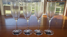 Mikasa Crystal Champagne Flutes Etched Swirl Murano pattern 4 7.5 ounce NWT