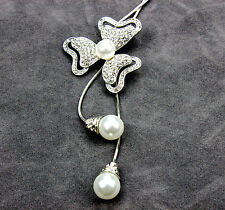 Three leaves clover pendant pearl fringe long necklace UK seller