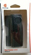 Griffin Elan Holster Metal iPhone 4 4S Flip Top Protective Case Black Sueded UK