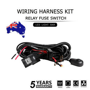 Led Light Bar Wiring Harness Kit Relay Fuse Swtch 12v 40a 2-lead Driving AU