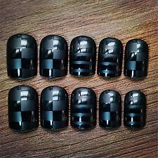 Stylish Black Square Lattice Nails 24 Pcs Classical Full Cover Short False Nails