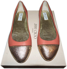 $565 Jimmy Choo WAINE Gold Chain Cap Toe Ballet Coral Leather Flat Shoe 39.5