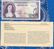 Great Historic Banknotes Colombia 2 Pesos 20.7.1977 P423b UNC