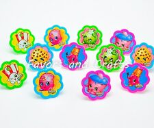 12 PCS Shopkins Cupcake Cake Decorating Supplies Topper Pops Rings Favors