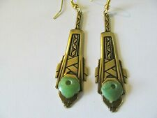 ART DECO ANTIQUE GREEN JADE on LONG BRASS GOLD DESIGNED STEM PIERCED EARRINGS