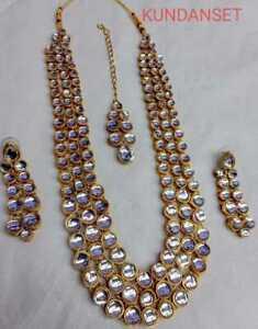 Indian Kundan Designer Gold Plated Fashion Bollywood Jewelry Long Necklace Set