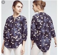 Anthropologie Bethesda Flannel Top By Maeve Swan Print Blue Size Size S Small