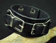 S335 COOL Punk Metal Buckles Leather Wristband Bracelet Men's Wide Cuff BLACK
