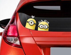 x2 Peeping Minion Brothers - Funny Car or Van Window / Bumper Sticker
