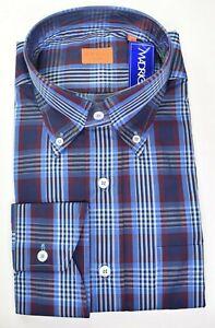 NWT $375 * Bruli * Blue Red & White Plaid W/ Pocket Swiss Made Dress Shirt XL