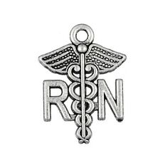 RN Registered Nurse Caduceus 19mm Antiqued Silver Traditional Charm 1pc